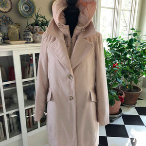 Karl Lagerfeld Paris Light Pink Wool Coat w Vest